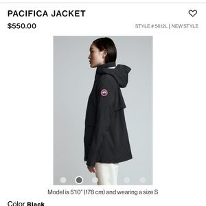 Canada Goose Pacifica Jacket NWOT
